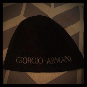 Giorgio Armani Black Embroidered Beanie Hat